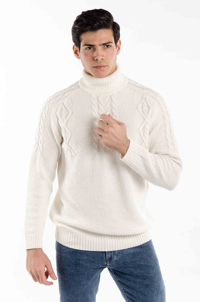 Textured Turtleneck Sweater-Ecru - Dockland