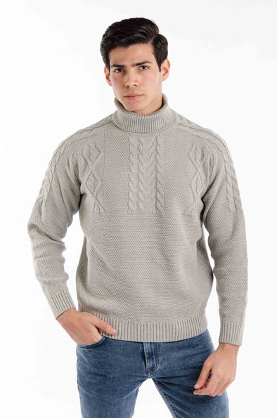 Textured Turtleneck Sweater-Light grey - Dockland