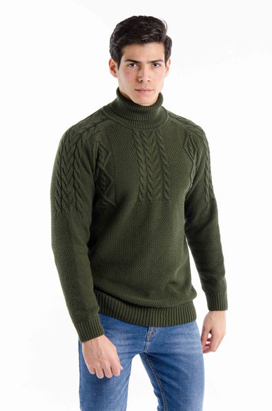 Textured Turtleneck Sweater-Olive - Dockland