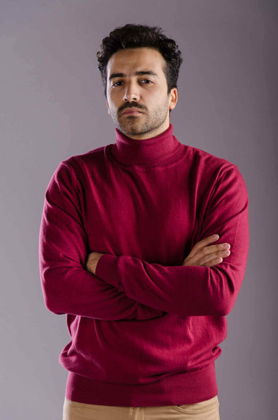 Turtleneck Plain Sweater-Wine - Dockland