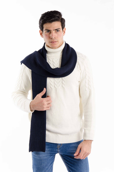 BASIC KNIT SCARF-Navy - Dockland