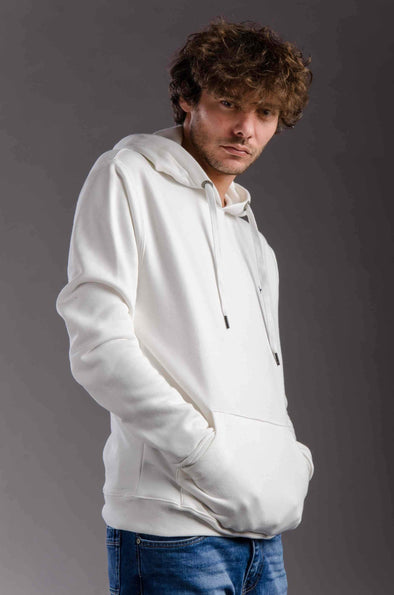 Plain hooded sweatshirt-Ecro - Dockland