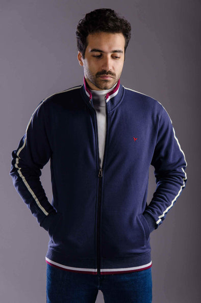 Plain Full Zipper Sweatshirt-Navy - Dockland