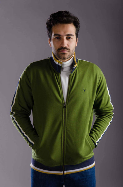 Plain Full Zipper Sweatshirt-Olive - Dockland