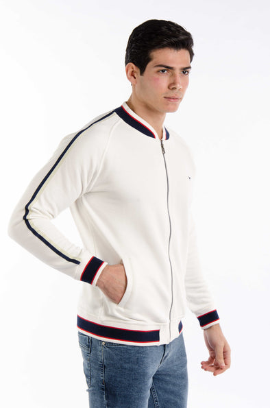 Plain Full zipper Sweatshirt-Ecru