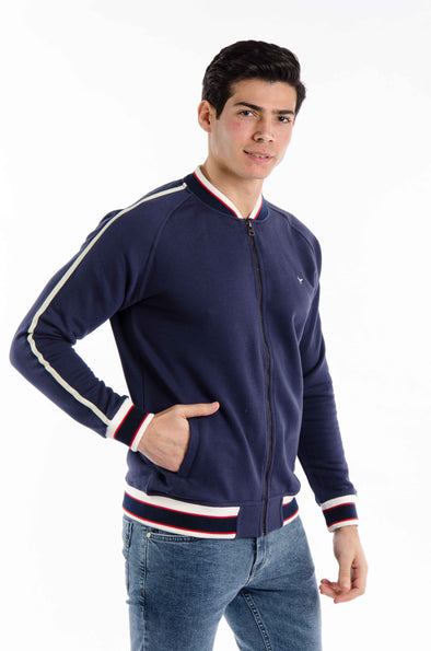Plain Full zipper sweatshirt -Navy