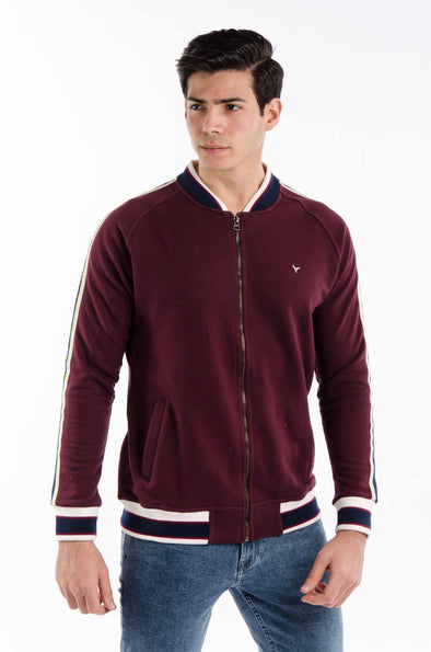 Plain Full zipper sweatshirt -Wine
