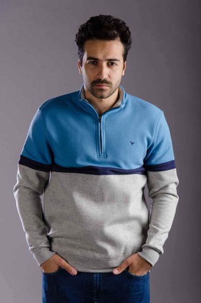 Half zipper sweatshirt-Blue - Dockland