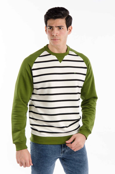 striped round neck-sweatshirt-Olive - Dockland