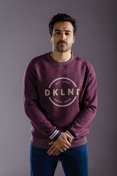 Printed crew neck sweatshirt -Wine - Dockland
