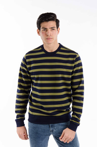 Striped round neck-sweatshirt-Navy*olive - Dockland