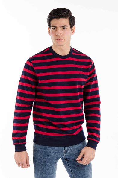 striped round neck-sweatshirt-Navy*Red - Dockland