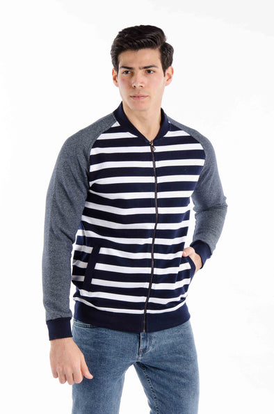Plain Full zipper Sweatshirt-Navy*White - Dockland
