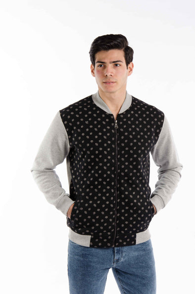 Pattern Full zipper jacket-Black - Dockland