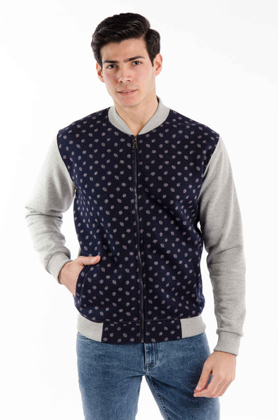 Pattern Full zipper jacket-navy - Dockland