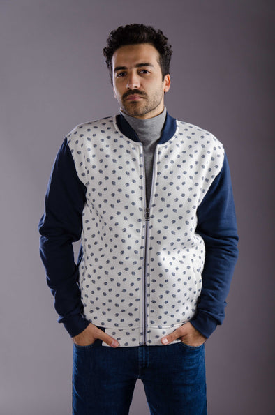 Pattern Full zipper jacket-White - Dockland