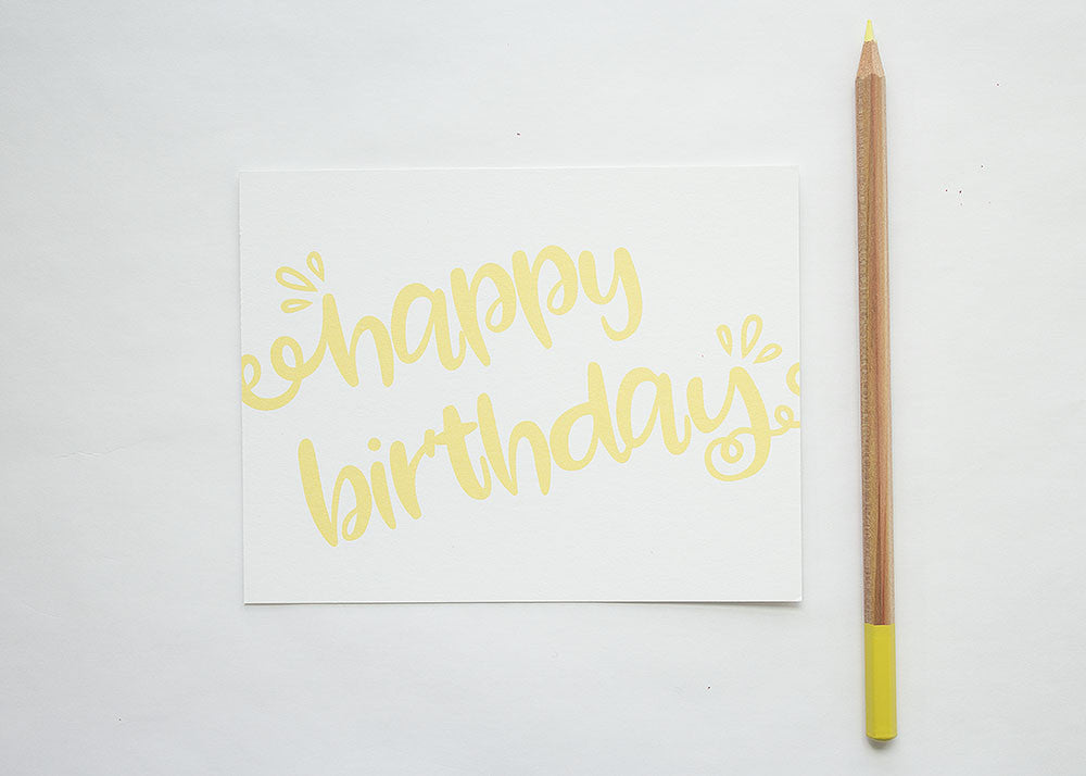 Calligraphy Birthday Card Blank Inside