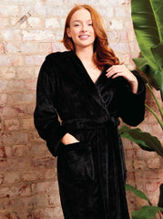 Ladies Plush Shimmer Fleece Hooded Robe - Slumber Hut