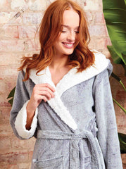 Ladies Luxury Frosted Fleece Hooded Robe With Sherpa Trims - Slumber Hut
