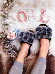 Ladies Luxury Pom Pom Slipper - Slumber Hut