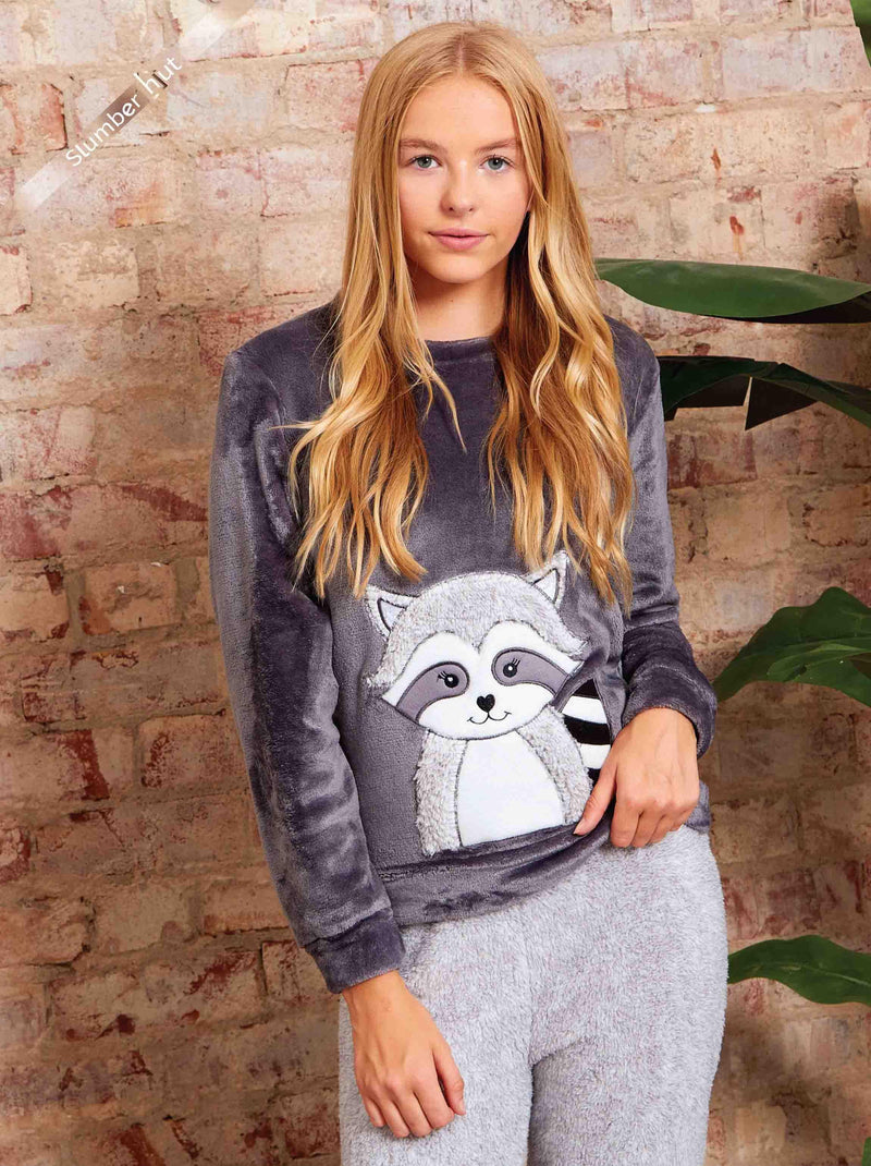 Girls Luxe Fleece Raccoon Pyjama Set-Girls Pyjamas-Slumber Hut
