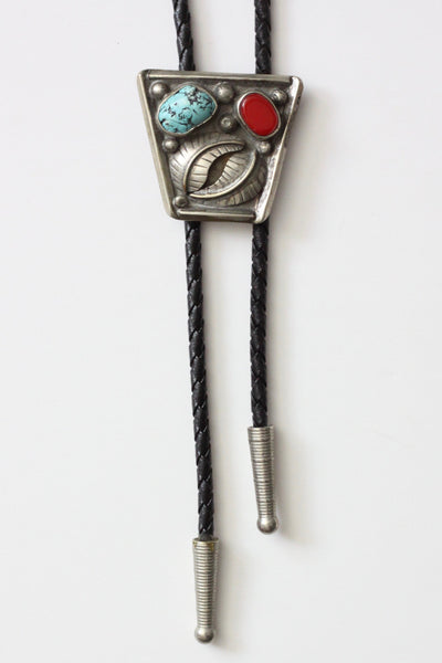 Vintage Turquoise & Coral Bolo Tie