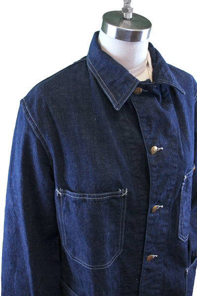 Vintage 1940s Finck's Red Bar Denim Work Coat