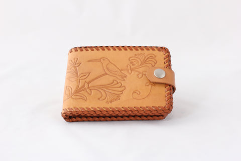 Vintage Tooled Leather Bi-Fold Snap Wallet with Birds
