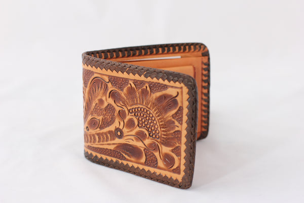 Vintage Floral Tooled Leather Bi-Fold Wallet - La Lovely Vintage