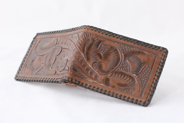 Vintage Floral Dark Tan Tooled Leather Bi-Fold Wallet - La Lovely Vintage