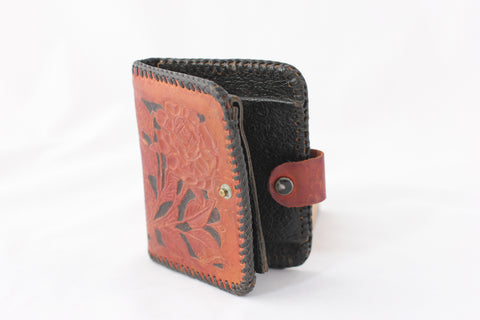 Vintage Tooled Leather Bi-Fold Snap Wallet with Roses