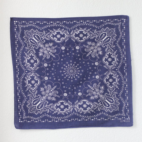 Vintage Single Selvedge Indigo Trunk Up Elephant Brand  Bandana - La Lovely Vintage