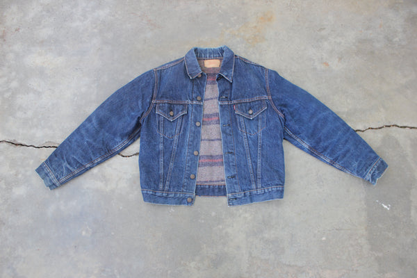 Vintage 1960's Big E Levi's Type III Troy Blanket Lined Denim Trucker Jacket - La Lovely Vintage
