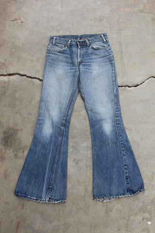 "Vintage 1960/1970's ""Big E"" Levi's Denim 646 Bellbottom Jeans - La Lovely Vintage"