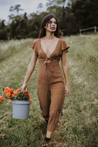 Conrado Johanna Jumpsuit - Brown Polka Dots - La Lovely Vintage