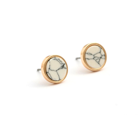 Gold Stud White Marble Earrings
