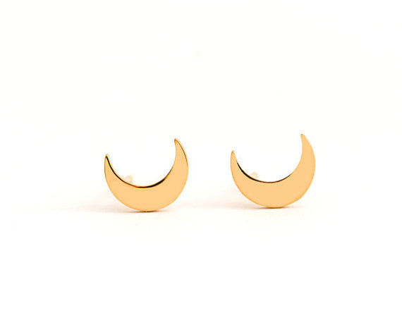 Crescent Moon Stud Earrings - La Lovely Vintage