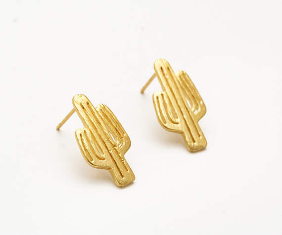 Gold Cactus Earring Studs