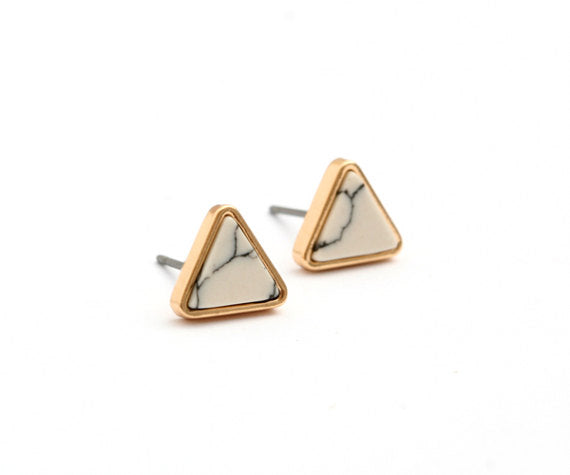 White Marble Triangle Stud Earrings - La Lovely Vintage