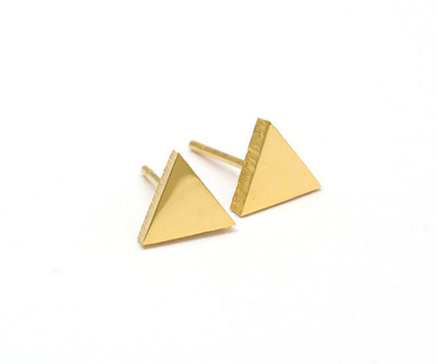 Gold Triangle Stud Earrings - La Lovely Vintage