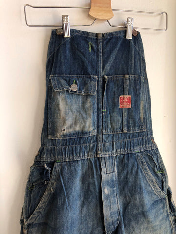 Vintage 1930's Strapless Super Red Engine Denim Overalls