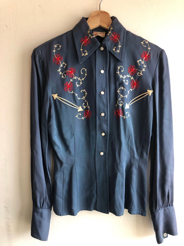 "Vintage 1940/1950's ""Ride n' Stride"" Gabardine Embroidered Western Shirt"