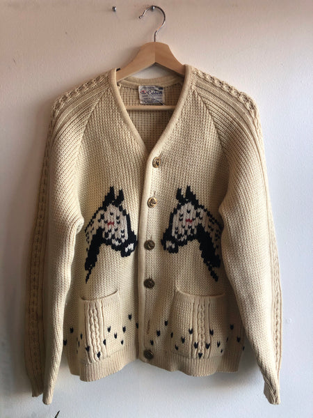 Vintage 1970's Horse-Themed Cardigan Sweater