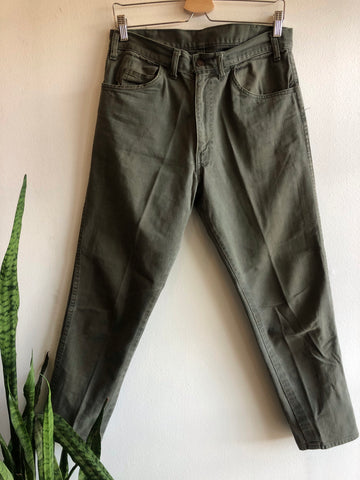 "Vintage 1960's Levi's ""Big E"" Olive Canvas Pants"