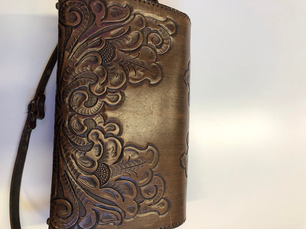 Vintage Dark Brown Tooled Leather Purse