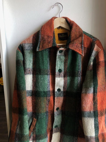 Vintage 1960's Campus Mohair Plaid Fleece-Lined Jacket