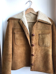 "Vintage 1960s ""The Sheep Shack"" Suede jacket w/ sherpa lining"
