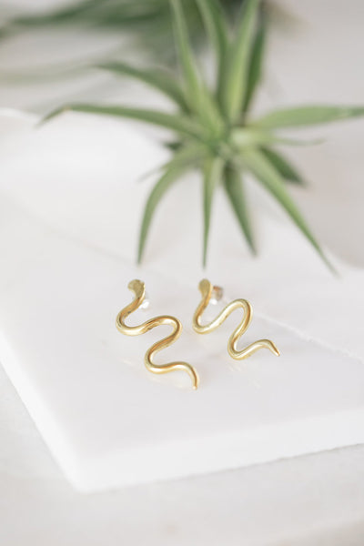 Opal & Gold - Brass Snake Earrings - La Lovely Vintage