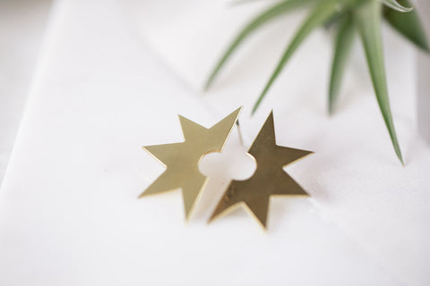 Opal & Gold - Brass Starburst Earrings - La Lovely Vintage