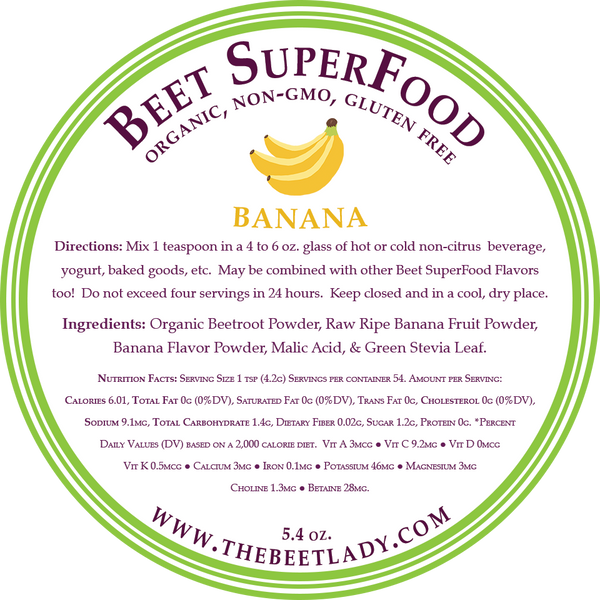 The Beet Lady Beet SuperFood Ingredients (Banana)
